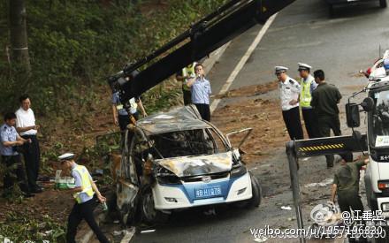 Das ausgebrannte Elektroauto in Shenzhen