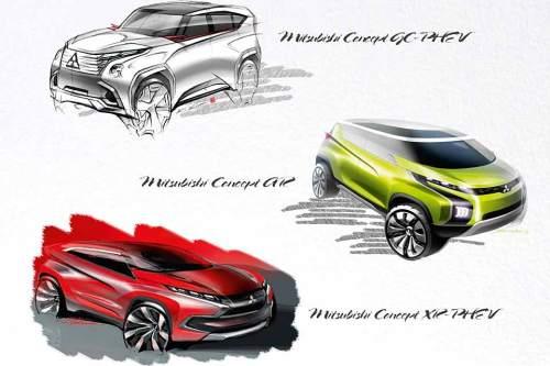 Drei von einer Sorte: Die neuen Plug-in-Hybrid-Studien von Mitsubishi.