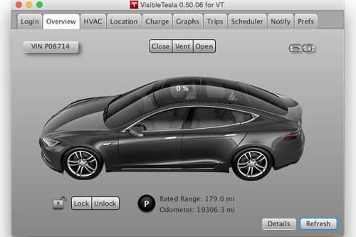 Das Programm mit dem Namen Visible Tesla verwendet das Protokoll der offiziellen App.