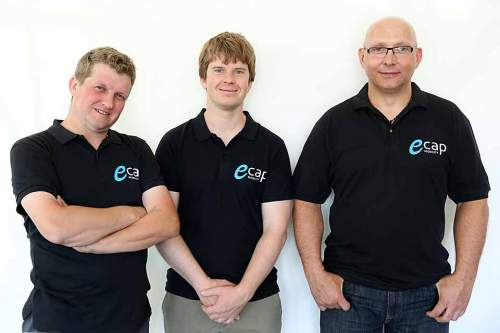 Die Macher von ecap-Mobility: Dennis Murschel (Teilhaber), Julian Kott (Geschäftsführer), Heiko Fleck (Teilhaber).