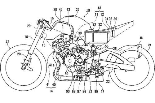 """Vorerst nur als """"Explosionszeichnung"""" und ohne Namen: Ein neues Hybrid-Motorrad von Suzuki - in dieser Hubraumklasse vielleicht das erste seiner Art."""