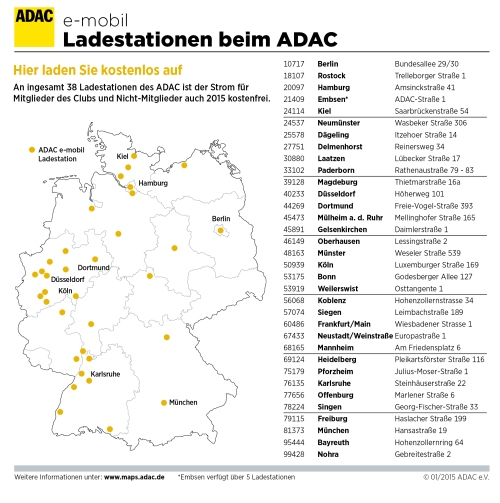 Kostenlosen Strom bietet der ADAC bundesweit an 38 Ladestationen.