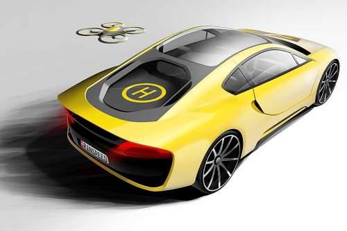 Die Drohne immer dabei: Das Konzeptfahrzeug von Rinspeed.