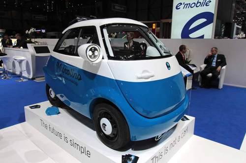 """Die """"Knutschkugel"""" als Elektro-Version auf dem Genfer Autosalon."""
