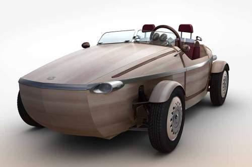 Unikat: Das Design des Holz-Autos erinnert an eine Jacht.