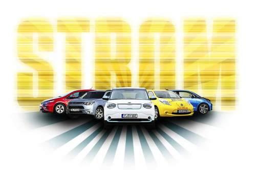 Unsere Dauertestfahrzeuge (v. li nach re.): Opel Ampera, Mitsubishi Outlander PHEV, Kia Soul EV, Nissan Leaf, BMW i3.